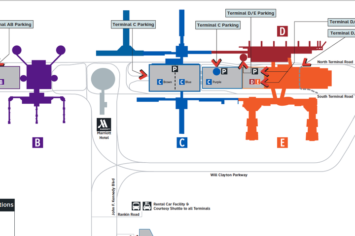 IAH Make Ecopark Reservation JFK Blvd Houston Airport System - Houston terminal map