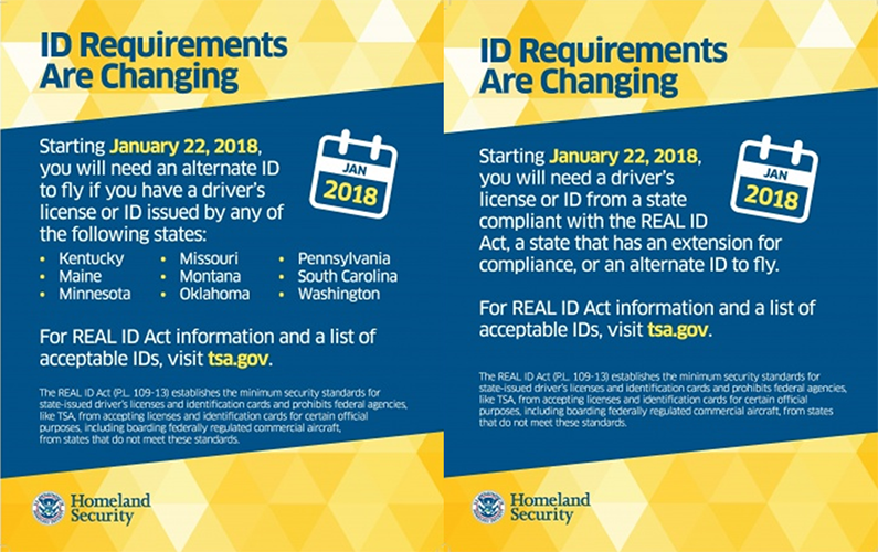 Traveling Notice Real Id Act Becomes Effective Jan 2018